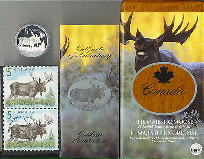 Canada 2004 $5 Silver .999 Majestic Moose Coin and Stamp Set RCM