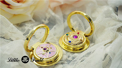 New Sailor Moon 20th Crystal Star Mirror Badge Phone Ring Stand Holder Anime Cos