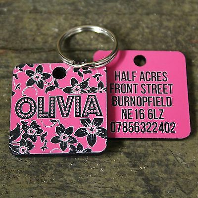 Pink Flowers Pet Dog Tag ID Name Personalised Engraved Cat Tags Collar Gift