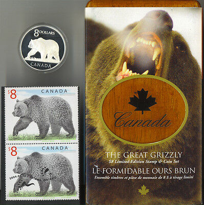 2004 Canada $8 Grizzly Bear Silver Coin and Stamp Set Limited Edition RCM