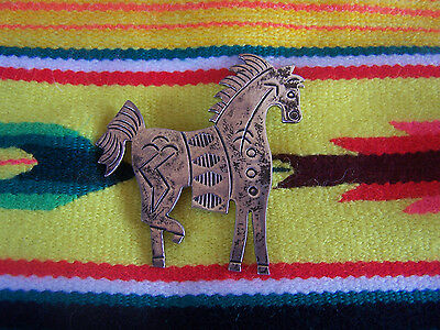 Large Native American Navajo Warrior Pony Horse Sterling Silver Pin Brooch~Signe
