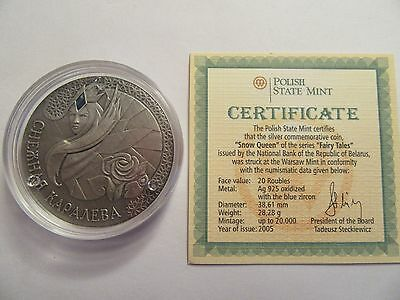 2005 Belarus Sterling Silver 20 Roubles, Fairy Tale Series,  Snow Queen, COA