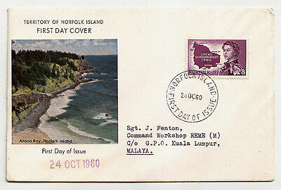 NORFOLK ISLAND 1960 Local Government Scott 42 On FDC To Malaya