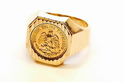 18k YG Gents Coin Two or Dos Pesos Ring - Vintage Mid 1970s