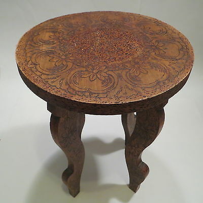 Antique Vtg Wood Pyrography Floral Side Table Stand Flemish Art Nouveau Flowers