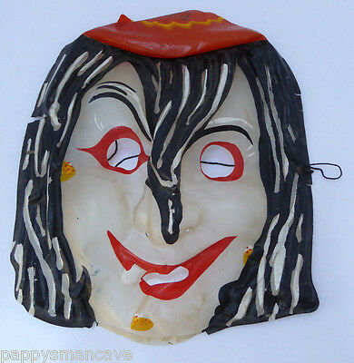 Vintage  Old School Glow In Dark Witch  Halloween Mask