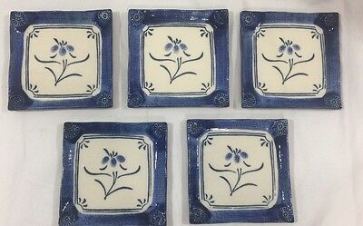 5 Small Asian Chinese Japanese Blue White Square Plate Trinket Dish Ceramic 4.5""
