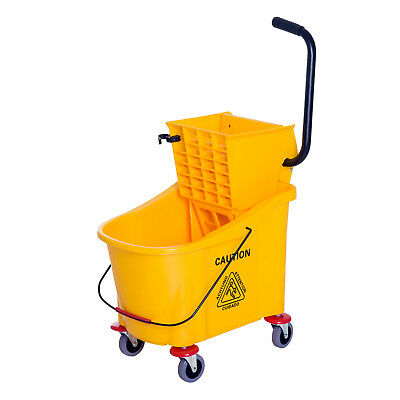 11 Gallon Mop Bucket with Wringer on Wheels - Yellow