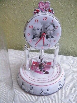 """I Love Lucy Dome Mantel Anniversary Clock Chocolate Factory Lucy & Ethel 10"""""""