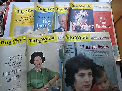 This Week  Magazine - Lot of SEVEN 1962 Issues - Cary Grant, More!