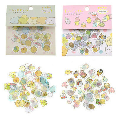 80 Pc Japanese Sumikko Gurashi Stickers Flakes Bag Sack Anlimal DIY Scrapbooking