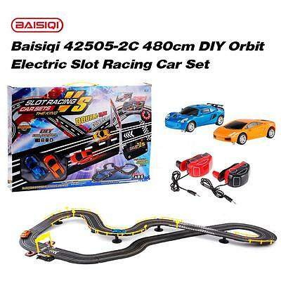 Baisiqi 42505-2C Two Slot Racing Car DIY Orbit Set Self-assembled Toys C7P7