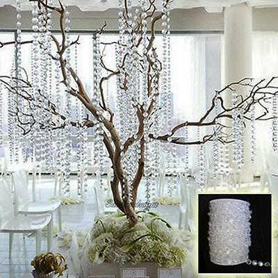 33FT Garland Diamond Acrylic Crystal Bead Beaded Curtain Wedding DIY Party Decor