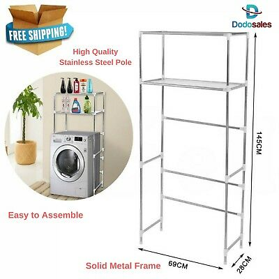Stainless Steel 2 Shelves Storage Rack Unit Over Washing Machine Laundry Kitchen