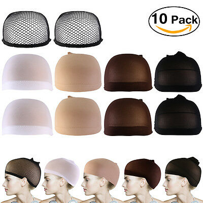 10pcs Stretchable Mesh Wig Cap Elastic Hair Snood Nets for Cosplay Unisex