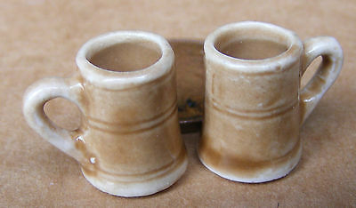 1:12 Scale 2* Ceramic Stone Style Mugs Tankards Dolls House Miniature Accessory