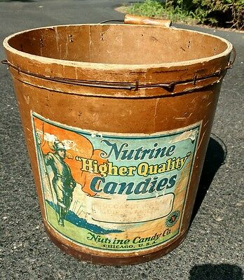 Vintage bucket Nutrine Candy Co Chicago advertising Higher Quality Candies