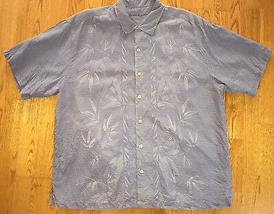 Tommy Bahama Size XL Men's 100% Silk Shirt Blue Button Front