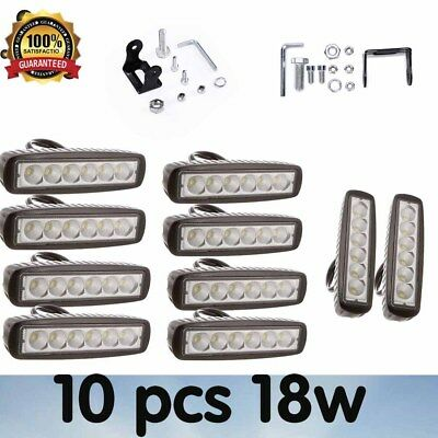 4PCS 18W LED Work Light Bar Driving Lamp Flood/Spot Beam Truck Offroad UTE SUV