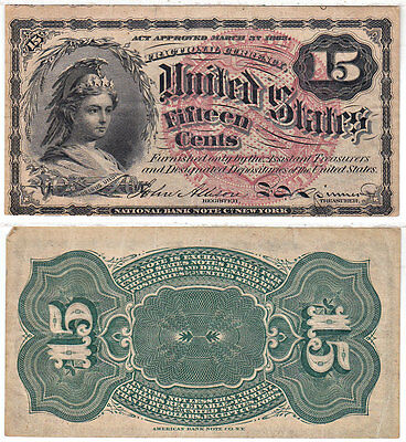 15 Cent 4th Issue Fractional Currency F-1267 Very Fine