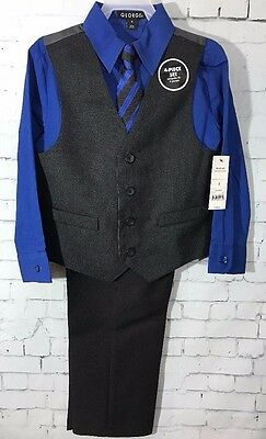 Boys Dress Suit 4 Piece Vest Tie Set Outfit Blue Black Gray Easter Holiday NWT