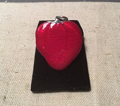 Buccellati Italy Vintage Sterling Silver Red Enamel Strawberry Pendant