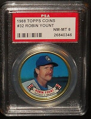 PSA 8 NM-MT 8 - #32 Robin Yount 1988 Topps Coins Milwaukee Brewers