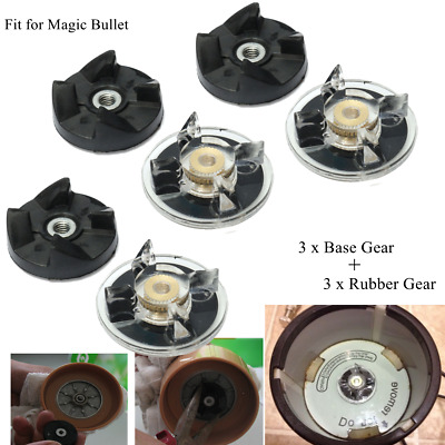 3 Plastic Gear Base + 3 Rubber Power Replacement For Magic Bullet Spare Parts