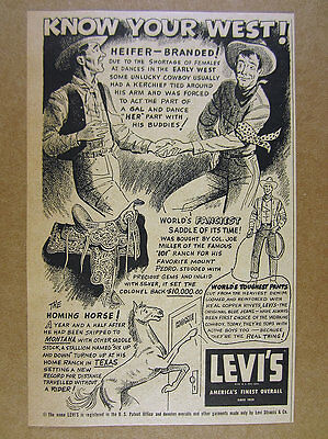 1954 Levi's Jeans 'Know Your West' cowboys illustration art vintage print Ad