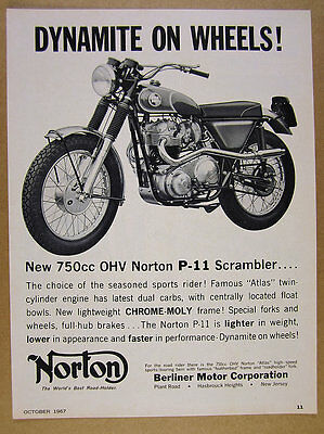 1967 Norton P-11 P11 Scrambler 750 motorcycle photo vintage print Ad