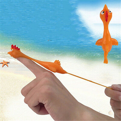 Funny Stretching Catapult Chicken Rubber Yellow Bird Finger Flying Toy Slingshot