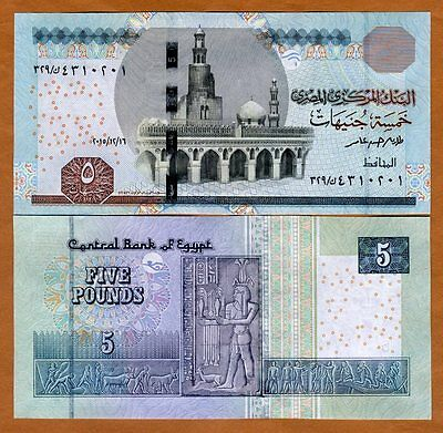 Egypt, 5 Pounds, 2015, Pick New, UNC
