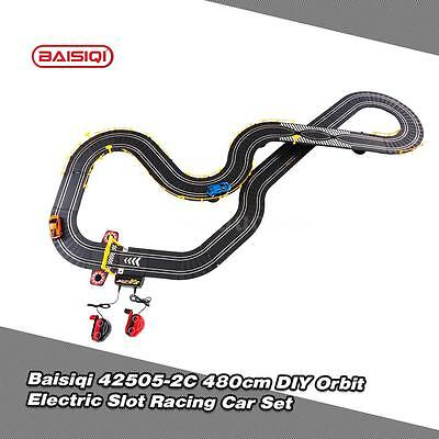 Baisiqi 42505-2C Two Slot Racing Car DIY Orbit Set Self-assembled Toys NEW G9G0