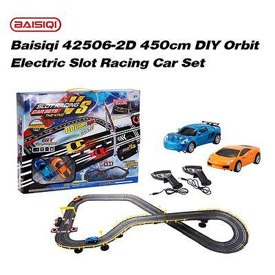 Baisiqi 42506-2D Two Slot Racing Car DIY Orbit Set Self-assembled Toys NEW Q8Z4