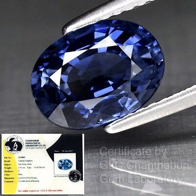 2.51ct 9x6.5mm Oval Natural Unheated Untreated Blue Sapphire *Free GLC Certified