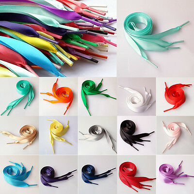 2CM Pair Wide various colors Flat Shoelaces Ribbon Satin Shoe Laces Sport Shoes