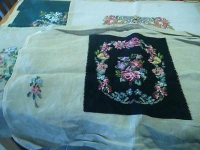 4 x LOVELY LARGE COMPLETED WOOL TAPESTRY SQUARES - FLORAL - READY TO FRAME