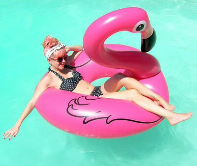 120cm Giant Inflatable Flamingo Swimming Ring Pool Beach Float Summer Water Toy