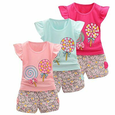 2pcs Kids Baby Girls Summer Outfits T-shirt Tops Floral Shorts Pants Clothes Set