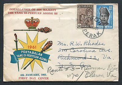 04.01.1961 Malaya Malaysia stamps on illust FDC to U.S.A.