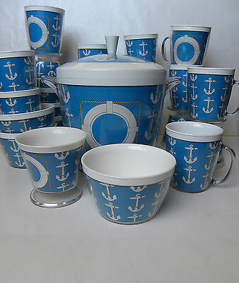 24 Pc. Vintage Nautical Theme Insulated ~Cups, Bowls, Ice Bucket~ Beverage Set
