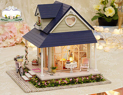 Wooden Dollhouse DIY KIT Miniature House Model With Light With Furniture 15006