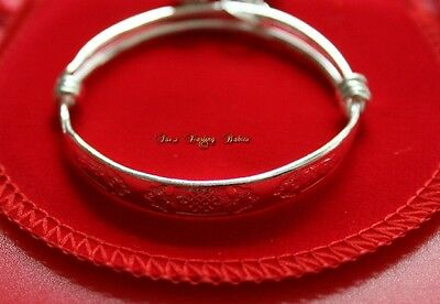 ** Baby Child Silver Bangle  *  / Adjustable / Bracelet Baby/ Velvet Gift Bag **