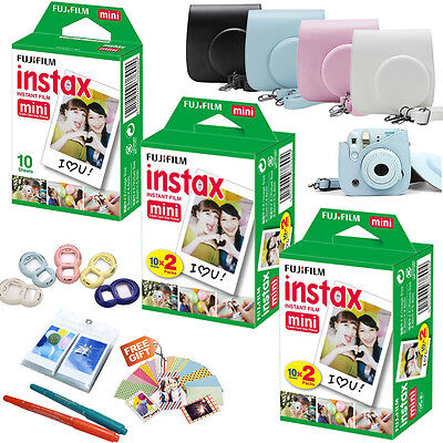 For Fujifilm Instax Mini 8 Camera 50 White Films + PU Bag+ Selfie Lens + Sticker