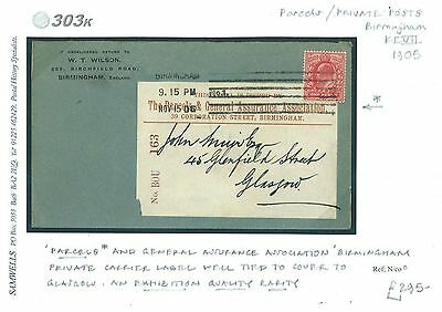 db303k~ 1905	GB Birmingham Private Parcel Post Philately/GB Scotland Glasgow