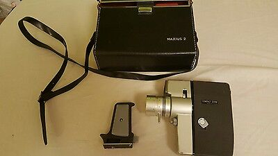 Vintage 1960s Maxius 2 Retro Double 8mm Cine Movie Camera working with carrycase