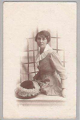 Antique RPPC: Portrait Of Pretty Lady - Feathered Hat - Haverford - Fashion