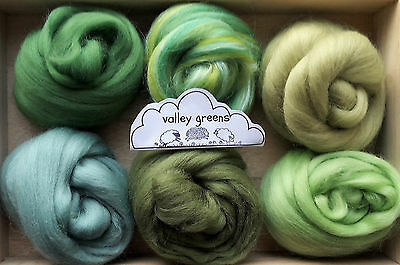Merino Wool roving/ tops / Felting, needle felting, green - 60g
