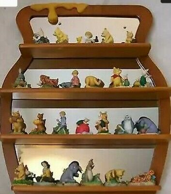 winnie the pooh complete thimble collection & shelf