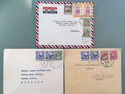 Palestine Jordan Amman 1951 Air Mail Cover Plus Two Covers To England